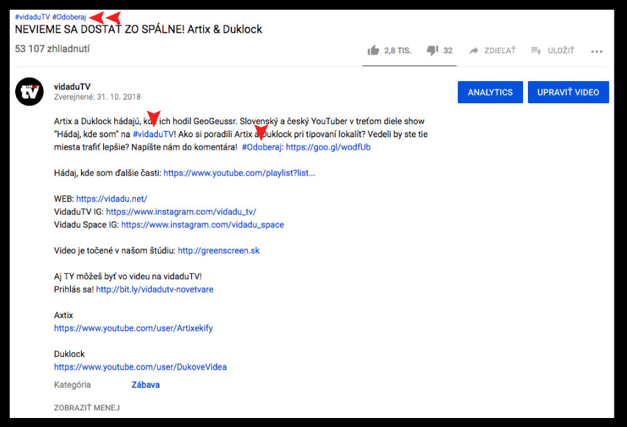 popis videa